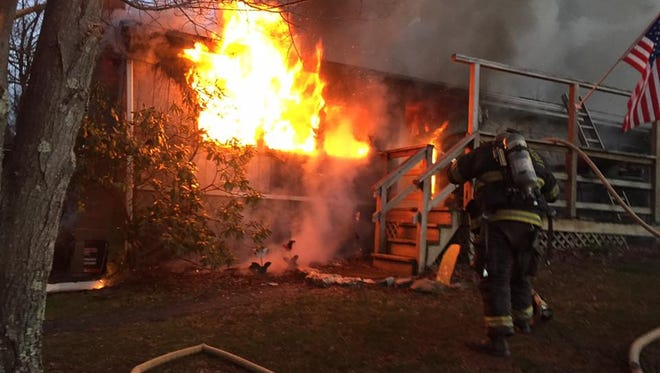 Firefighters fight a blaze in the 2800 block of Bryansville Road on Saturday morning. Photo courtesy Delta-Cardiff Volunteer Fire Co.