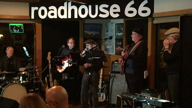 The Shackles, featuring Lancaster resident Gerry Thomas on lead guitar, played last weekend for the first time in 50 years in Columbus. Left to right is drummer Steve (Breeze) Smith, bassist Gary Stickel, vocalist Bob Nicholson, Thomas, and Dave Gastel on harmonica and keyboards.