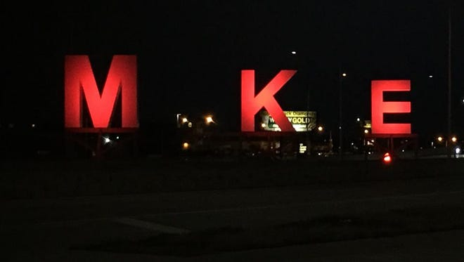Mitchell International Airport was illuminated for Light & Unite RED, a countywide campaign to raise awareness of addiction and recovery.