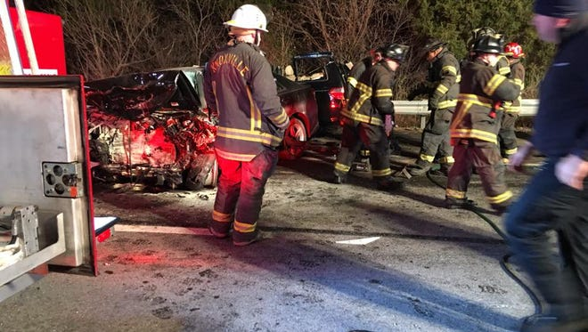 Emergency personnel on the scene of a fatal crash on Interstate 640 West late Monday, Jan. 30, 2017. Three people died when a man drove a car the wrong way on I-640 and collided head-on with a van, according to a Knoxville Police Department news release.