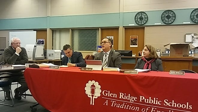 Glen Ridge Schools Superintendent Dirk Phillips, second from right, speaks during the Board of Education meeting on Feb. 13.