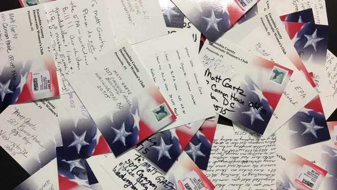 A fraction of the 56 postcards the Escambia County Democratic Women's Club mailed to Rep. Matt Gaetz's office Feb. 10 in condemnation of his bill to destroy the EPA.