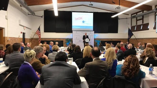Port Huron Schools Superintendent Jamie Cain talks to the crowd gathered for the second annual State of the District address on Thursday, February 16, 2017.