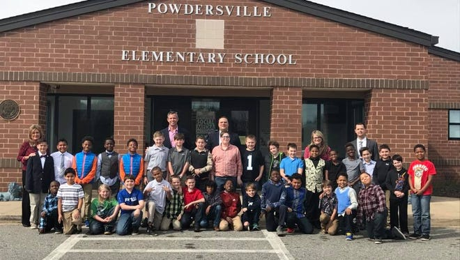 """Shown are Powdersville Elementary School """"Boys of Virtue"""" students, and staff, celebrating how proud they are of the boys who participated in this program."""