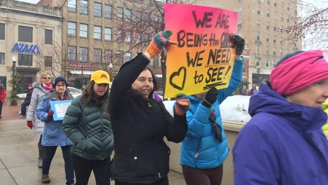 Wausau 'Stand Together' marchers demonstrate downtown on Jan. 21, 2017. Another march will be held March 4 in honor of International Women's Day.