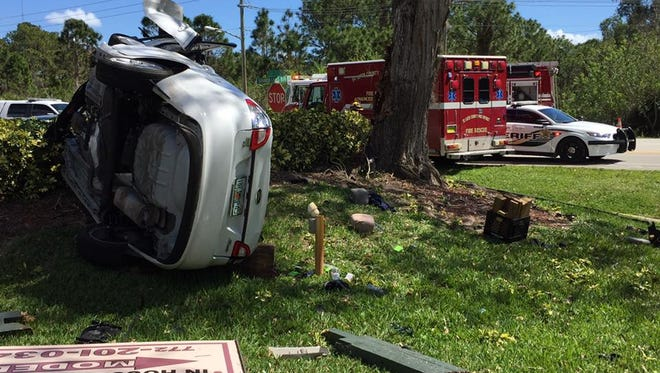 A man was hospitalized after a single-vehicle crash Saturday, March 4, 2017, on Turnpike Feeder Road near the Spanish Lakes Country Club community in St. Lucie County.