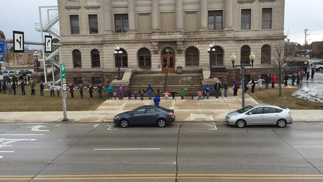 Manitowoc County's fifth annual Hands Around the Courthouse will be at 4:42 p.m. April 5 outside Manitowoc County Courthouse.