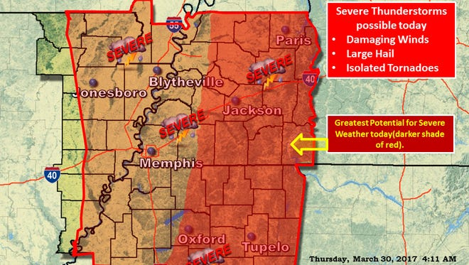 National Weather Service Memphis says a Severe Thunderstorm is posisble today, Thursday, March 30, 2017.