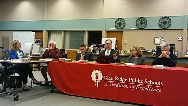 Glen Ridge Schools Superintendent Dirk Phillips, third from right, speaks during the Glen Ridge BOE meeting on April 3.