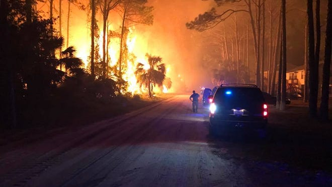 The Franklin County Sheriff's office joined the division of forestry and nearby fire departments to extinguish the blaze that menaced homes.