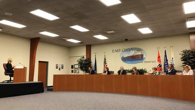 The East China Schools board interviews Suzanne Cybulla for the superintendent position on Thursday, April 13.