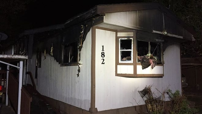 A mobile home on Mulberry Street was damaged in a fire April 19.