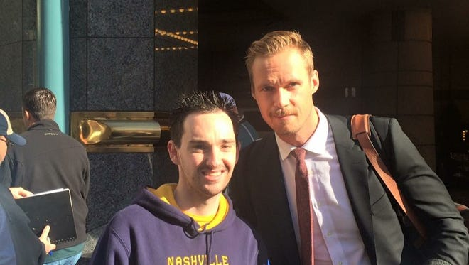 Predators superfan Iain Meldrum of Glasgow, Scotland has been able to meet several players on his favorite team, including Pekka Rinne.