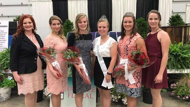 The 2017 Fairest of the Fair was held on Wednesday, with Kati Kindschuh. Pictured are, from left, Madison Supple, Second Runner-Up, Diane Meister, First Runner-up, Rachel Bock, 2016 Fairest of the Fair, Alexis Newton, 2017 Fairest of the Fair Kati Kindschuh and Amanda Hollander.