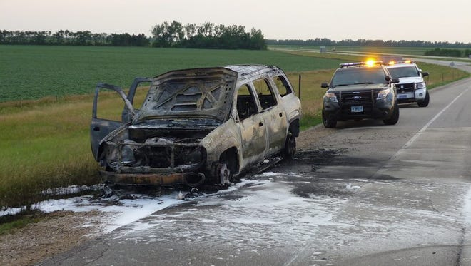 The remains of the vehicle after the fire was put out.