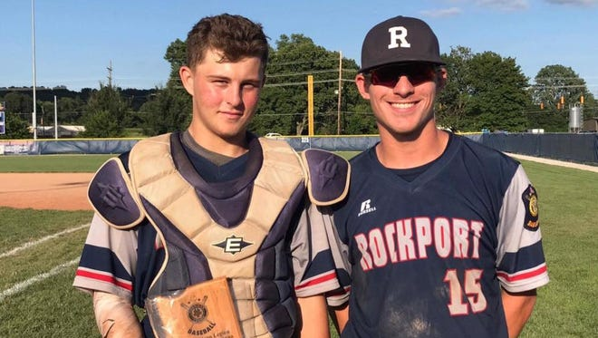 Catcher Matthew Embry (left) and Brice Stuteville have helped spark Rockport Legion to the Great Lakes Regional.