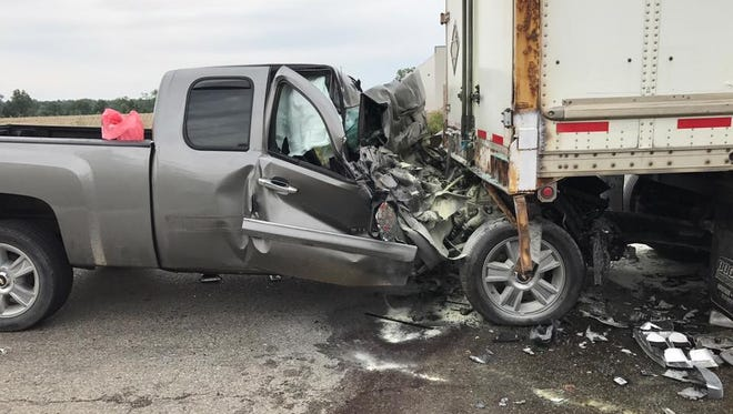 A South Lyon man, 26, was in critical condition Monday after crashing into the rear of a tractor trailer on Grand River in Lyon Township.