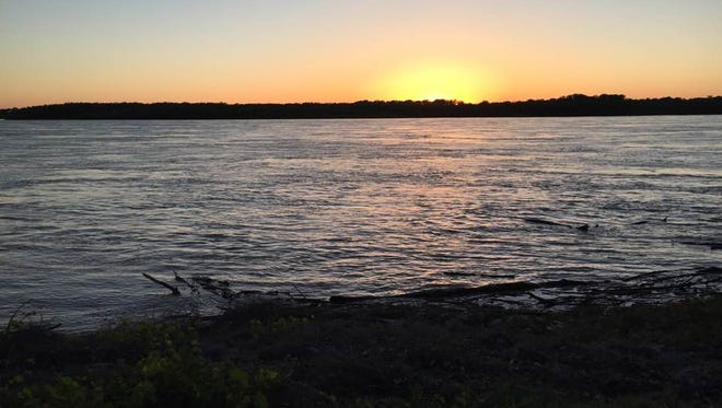 Sunset view from Mississippi River Greenbelt Park on Mud Island.