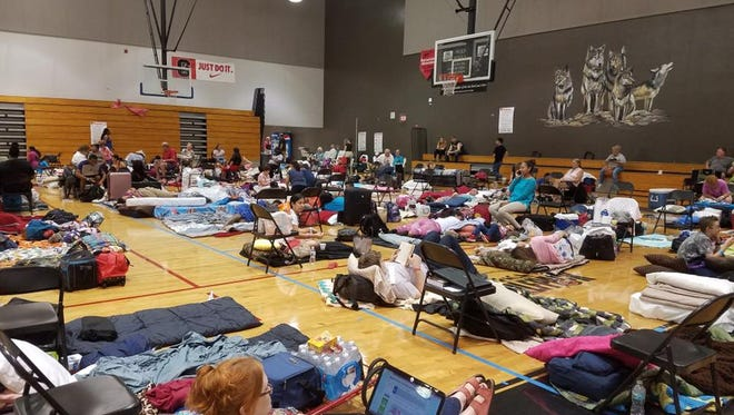 This is the scene at South Fort Myers High School's Hurricane Irma shelter