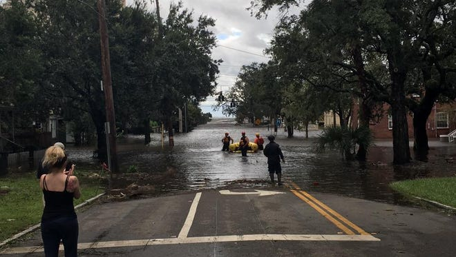 The Nashville Fire Department conducts a water rescue in Jacksonville, Fl.