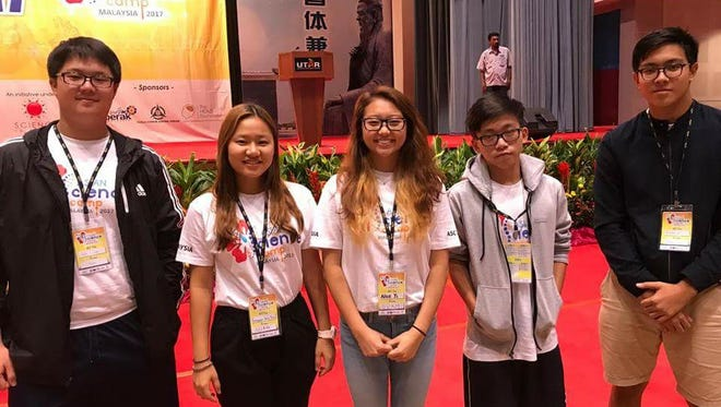 Five high school seniors were selected to attend the Asian Science Camp (ASC) 2017 at Universiti Tunku Abdul Rahman (Kampar Campus) in Malaysia from Aug. 21 to 25. Pictured, from left: Justin Wang, Amy Seo, Alice Yi, Daniel Su, Brandon Yu