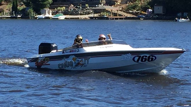 A boat races in the 2016 Lake Hopatcong Grand Prix.