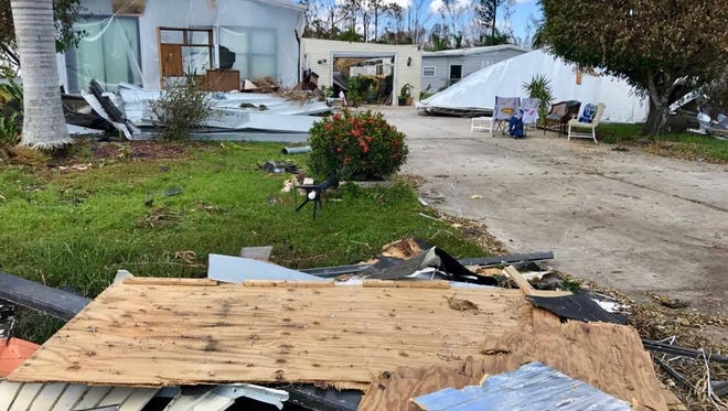 Damage from Hurricane Irma can be seen in West Wind Estates, a senior community in East Naples, Fla., on Sept. 16, 2017, six days after the hurricane made landfall.