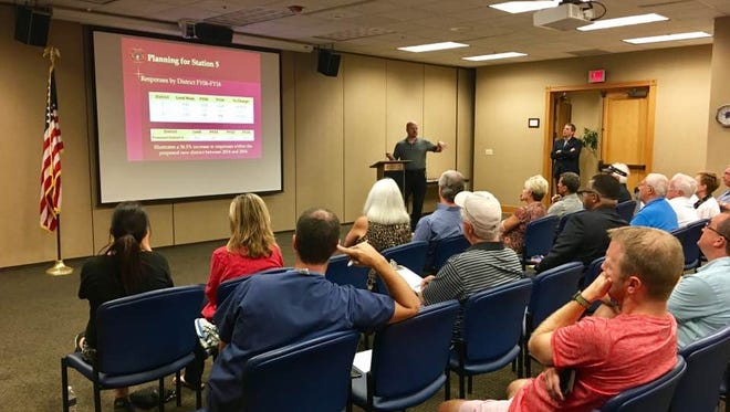 Brentwood Fire Chief Brian Goss gives a presentation to residents about a need for a fifth fire station in southeast Brentwood.