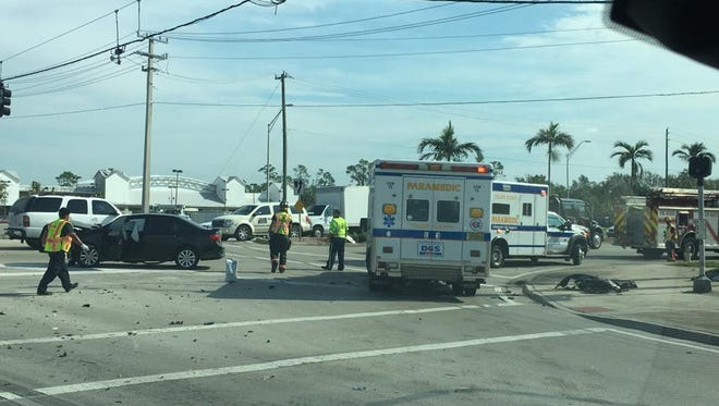 A crash at Immokalee and Livingston roads caused a road block and sent two people to the hospital Wednesday, Sept. 27, 2017.