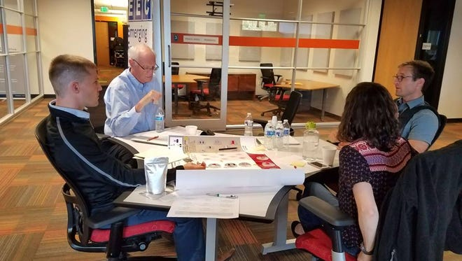 Members of the Delaware Sustainable Chemistry Alliance (DESCA) work with EEC Client DEact Medical Solutions during a DESCA TechConnect Workshop at the Emerging Enterprise Center co-working space.