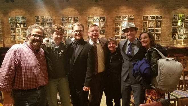 Jimmy Kaplan, Heidi Hodges, Dan Klarer, Michael Stebbins, Maureen Bagg (aka Miss Miller), Ryan Schabach and Kay Allmand pose for a photo after a reading of a new work by Dan and Ryan, performed at the Milwaukee Chamber Theatre.