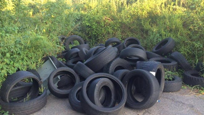 Tires collected from an illegal dumping ground.