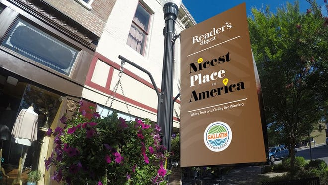 """Gallatin will display new banners in bronze and blue to celebrate being named the Nicest Place in America by """"Reader's Digest."""""""