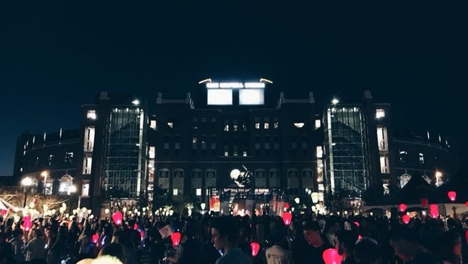 Red lanterns for supporters, white for survivors and gold for commemorating loved ones were lit at the opening lantern lighting ceremony.