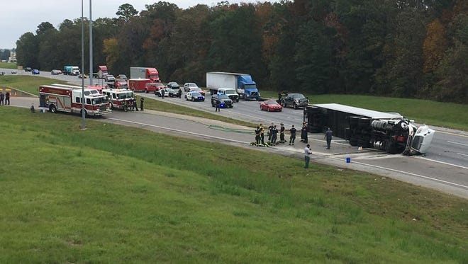 I-85 South Bound ramp and Taylor Road is temporarily closed due to an overturned 18- wheeler.