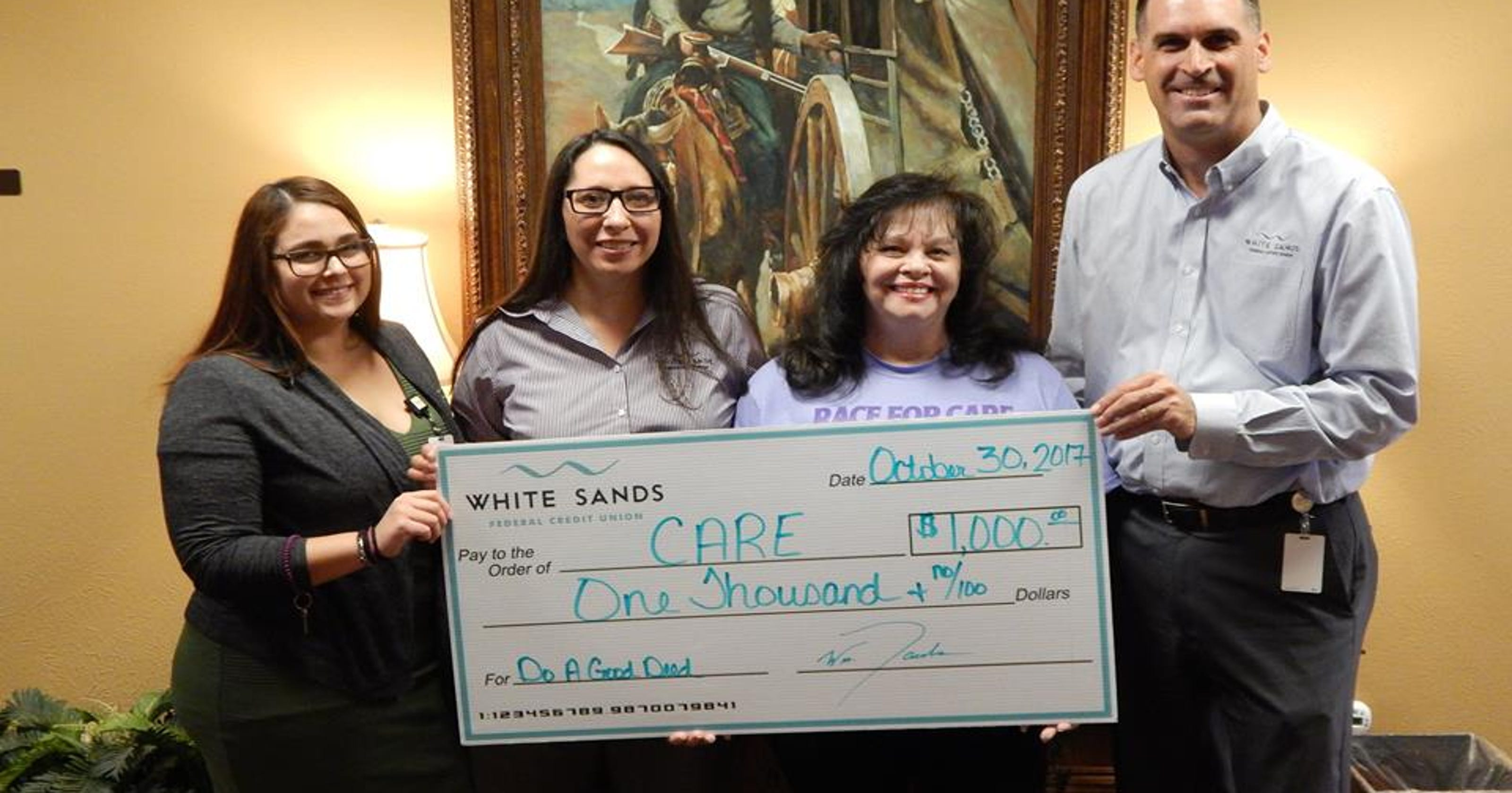 White Sands Federal Credit Union Donates 1 000 To Care