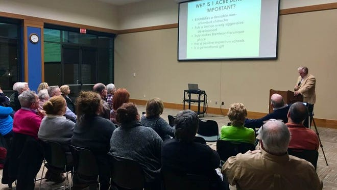 Residents listen to a presentation by Preserve Brentwood on Tuesday, Nov. 11, 2017.