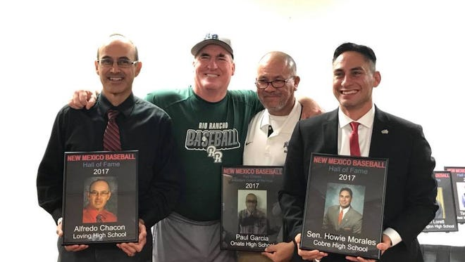 Alfredo Chacon (left), long time Loving High School baseball coach, with Ron Murphy, president of the board of directors of the New Mexico Baseball Coaches Association, Paul Garcia,  and Sen. Howie  Morales. Chacon, Garcia and Morales were inducted into the NMBCA Hall of Fame Dec. 8 in Albuquerque.