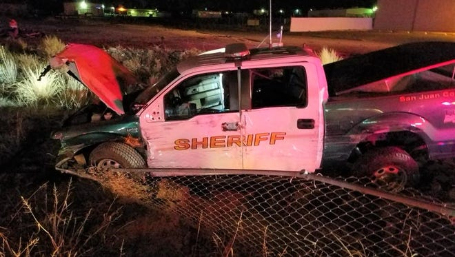 A 16-year-old female is accused of crashing a stolen San Juan County Sheriff's Office patrol vehicle on Monday. The vehicle was crashed near the intersection of the Bloomfield Highway and Resource Road in Farmington.