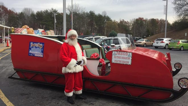 Santa's Sleigh Rides offers rides in a motorized sleigh up and down Main Street in Downtown Greenville during the holiday season.