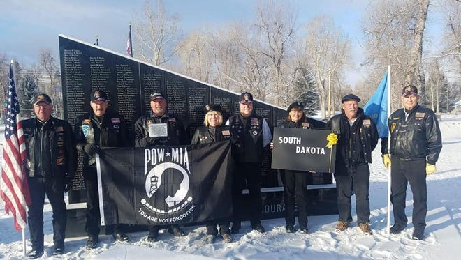 The POW MIA flag flew in Spearfish, South Dakota last month. It will be in Springfield on Saturday.