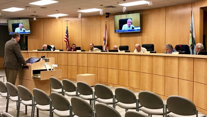 Lee Niblock, Marco Island's new city manager, addresses the Planning Board during its Jan. 5 meeting. Niblock said he plans on attending the Planning Board meetings from time to time.