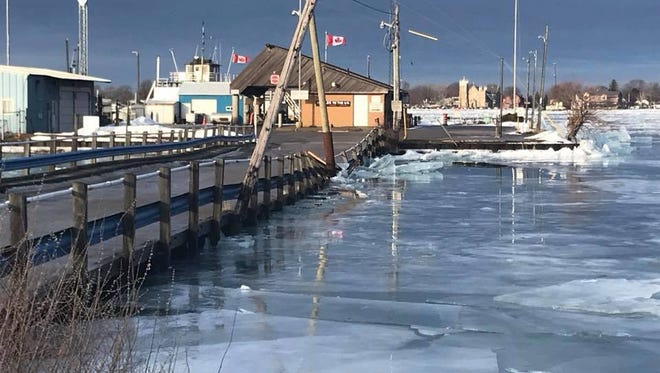 An ice jam has damaged the cross-way leading to the Bluewater Ferry docks and Canadian Coast Guard office in Sombra, Ontario. The ferry announced it had closed because of the damage. Owners aren't sure when, or if, they'll be back open.