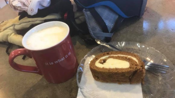 Another advantage of riding in cold weather: One does not feel guilty when consuming a vanilla latte and cream cheese cake after a ride.