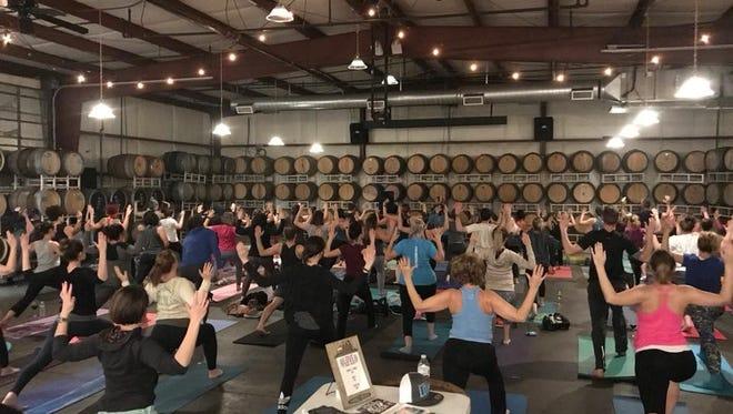 Yoga + Wine (Beer) at Eola Hills Wine Cellars.