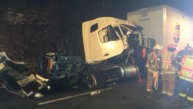 Harford volunteer firefighters at the scene of a crash involving multiple tractor-trailers on Interstate 81 in Susquehanna County, Pennsylvania.