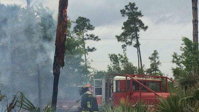 Firefighters battle a fast-moving brush fire Saturday in southeast Palm Bay.