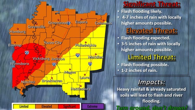 A map of expected flash flooding in Mississippi.