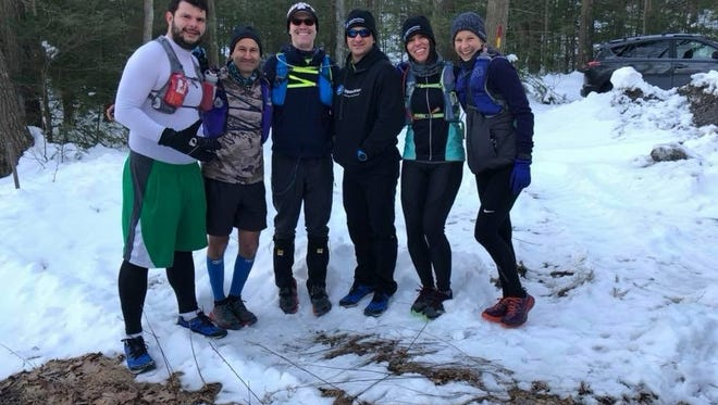 Foot Notes columnist Andy Sandrik, far left, poses for a photo with Franklin County runners Jeff Shetler, Anthony Fisher, Jason Huber, Amy Shelly and Elizabeth Willson prior to the start of last weekend's Tuscarora Trails 50K in Blain.