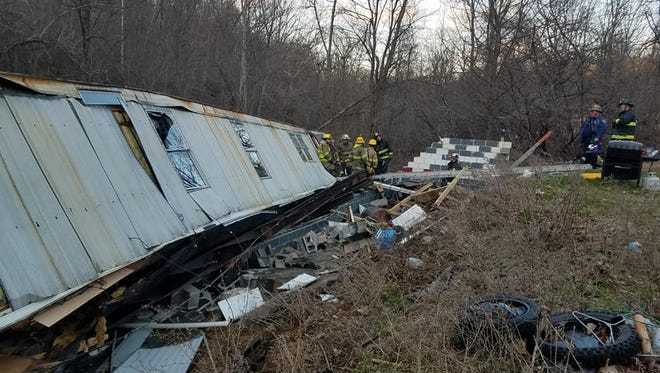 A mobile home overturned from the high winds on Wednesday, according to the Eastern York County Emergency Management Agency.
